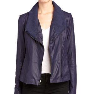 Vince Jackets & Coats - Vince blue Marine Leather Jacket NWOT